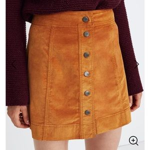 Madewell Velveteen A-Line Button Front Mini Skirt